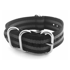 "5-Ring Black & Grey ""James Bond"" one piece ZULU Nylon 20mm Watch Strap"