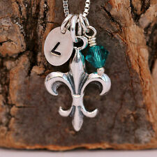 925 Sterling Silver Personalised Fleur de Lys Cross Pendant Necklace &Birthstone