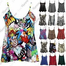 New Ladies Sleeveless Camisole Womens Printed Strappy Flared Swing Cami Vest Top