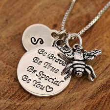"925 Sterling Silver Personalised Bee Charms ""Be You.."" Pendant Necklace &Initial"