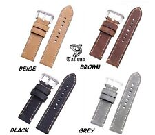 Taurus 22mm 24mm Genuine Calf Leather Watch Band Strap Brushed PreV Buckle BPREV