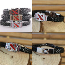 3 Colors Game Dota 2 Peripheral Products Dota Logo Alloy Leather Bracelets QFZ
