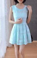 Hot Korean Girls Grace Summer Body Con Pleated Chiffon Fresh Fashion Solid Dress