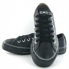 Converse All Star 125566 Women's Chuck Taylor OX Leather Shoes Trainers-Black