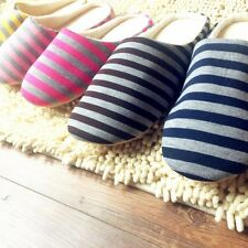 Unisex Women Men Warm Soft Slippers Anti-Slip Striped Indoor Home Slippers Shoes