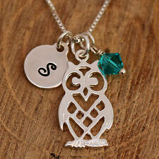 Sterling Silver Personalised Filigree Owl Pendant Necklace & Initial &Birthstone