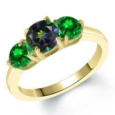 2.68 Ct Green Mystic Topaz Simulated Emerald 18K Yellow Gold Plated Silver Ring