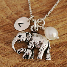Sterling Silver Personalised Mother Baby Elephants & Pearl Charms Necklace Boxed