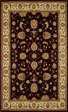 Burgundy Red Beige Bordered Traditional Rugs Area Rug Persian Oriental Carpet
