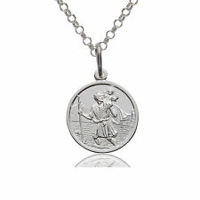 925 STERLING SILVER ST SAINT CHRISTOPHER 14MM PENDANT CHAIN NECKLACE & GIFT BOX