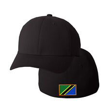 TANZANIA FLAG Embroidery Embroidered Black Cotton Flexfit Hat Cap