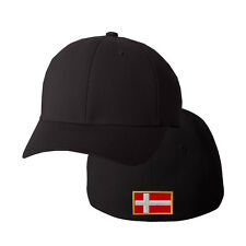 DENMARK FLAG Embroidery Embroidered Black Cotton Flexfit Hat Cap