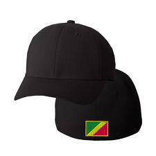CONGO FLAG Embroidery Embroidered Black Cotton Flexfit Hat Cap