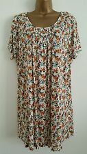 NEW M&Co Size 16 Cream Amber Orange Brown Floral Print Tunic Top Blouse
