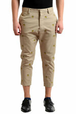 Dsquared2 Men's Beige Banana Print Cropped Casual Pants US 30 32 36