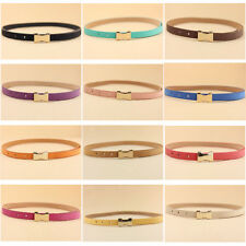 Women Fashion Thin Skinny Golden Metal Buckle Faux Leather Slim Waist Belt New