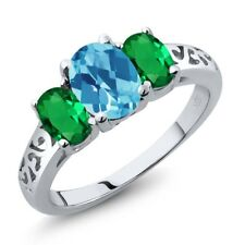 2.10 Ct Oval Checkerboard Swiss Blue Topaz Simulated Emerald 14K White Gold Ring