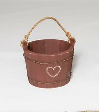 Country Rustic Primitive Decorative Large Wooden Water Bucket Amish Made USA