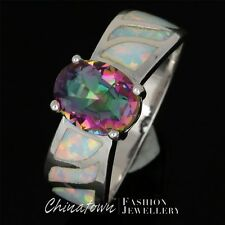 #6-10 7X9MM OVAL RAINBOW MYSTIC TOPAZ LAB WHITE FIRE OPAL SILVER SF JEWELRY RING