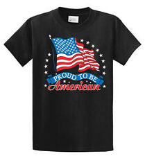 Proud American US Flag Mens Printed T Shirt Reg to Big and Tall cotton Port & Co