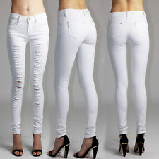 Womens Ladies White Ripped Distressed Jeans UK Size 8-16