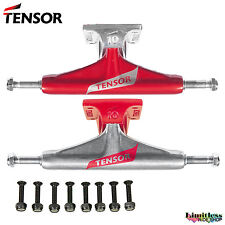 Tensor Skateboard Trucks Set Red Raw Alum Lo Flick 5.25 5.5 Pair Pro Hardware