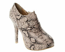 WOMENS SNAKESKIN PRINT PLATFORM ANKLE BOOTS HIGH HEEL SHOES LADIES UK SIZE 3-8