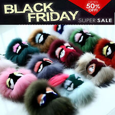 Mixed-Fur Monster Bag Bug Charm Pompom Ball Doll Car KeyChain Purse cell Pendant