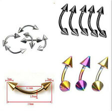 2-10 Stainless Steel Spike Curved Barbell Eyebrow Rings Bar Tragus Body Piercing