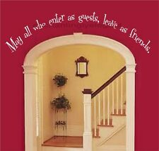 May All Who Enter As Guests Vinyl Decal Wall Stickers Lettering Words Entryway