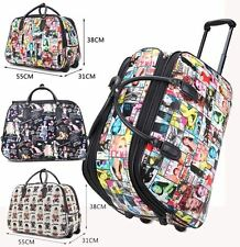 LADIES TRAVEL HOLDALL LUGGAGE MAGAZINE TEDDY PRINT BAG HANDLE WHEELED SUITCASE