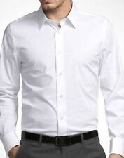 $59 New Express 1MX Solid White Extra Slim Fit Stretch Cotton Dress Shirt