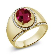 3.29 Ct Oval Red Created Ruby 18K Yellow Gold Plated Silver Men's Ring