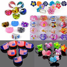 COOL 50Pcs Wholesale Jewelry Mixed Lots Resin Lucite Children/Kids Rings 13-16mm