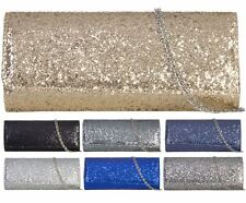 NEW LADIES SYNTHETIC SHIMMER GLITTER PARTY CLUTCH HANDBAG SPARKLE EVENING PURSE