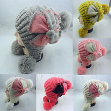 Hot Warm Winter Women Girls Flower Knit Ski Beanie Baggy Ball Ski Hat Cap 34