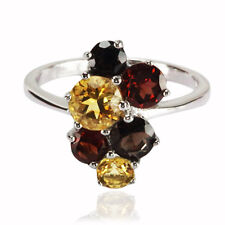Brown Quartz, Yellow Citrine & Red Garnet Solid 925 Sterling Silver Ring (gr491)