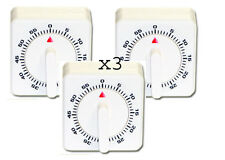 Pack of 3 60 Minute White Heavy Plastic  Kitchen Timer With clockwork mechanism