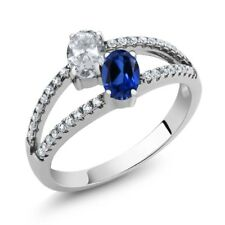 1.41 Ct White Topaz Blue Simulated Sapphire Two Stone 925 Sterling Silver Ring