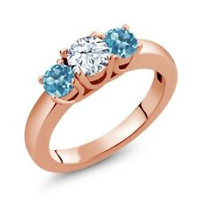 1.16 Ct Round White Topaz Swiss Blue Topaz 18K Rose Gold Plated Silver Ring