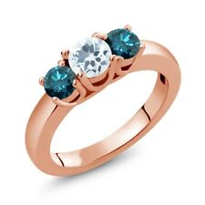 0.94 Ct Round Sky Blue Aquamarine Blue Diamond 18K Rose Gold Plated Silver Ring