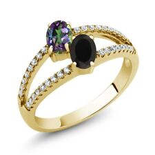 1.30 Ct Green Mystic Topaz Onyx Two Stone 18K Yellow Gold Plated Silver Ring