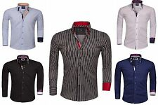 Luxury Mens Casual Double Collar Slim Fit Formal Stretch Shirt Italian Design
