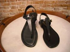 Marc Fisher Anastasia Black Leather Thong Ankle Strap Sandal NEW