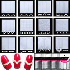 12 Styles French Stencil Nail Art Form Fringe Guides Manicure Stickers Tips Tape