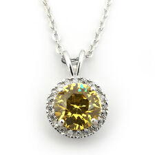 Rhodium Plated Sterling Silver Simulated Citrine & CZ 9mm Halo Necklace
