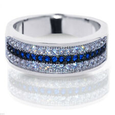 Blue Sapphire Clear Simulated Sapphire Micro Pave Sterling Silver Band Ring