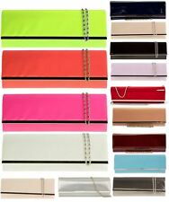 NEW WOMENS RETRO PATENT WEDDING PARTY PROM EVENING CLUTCH HAND BAG PURSE