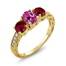2.22 Ct Pink Created Sapphire & Created Ruby 18K Yellow Gold Plated Silver Ring