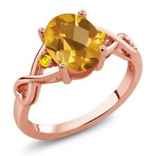 1.37 Ct Checkerboard Citrine Yellow Sapphire 18K Rose Gold Plated Silver Ring